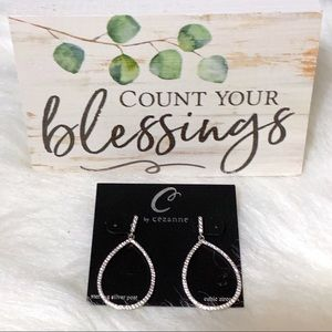 Sterling Silver & Rhinestone Tear Drop Earrings